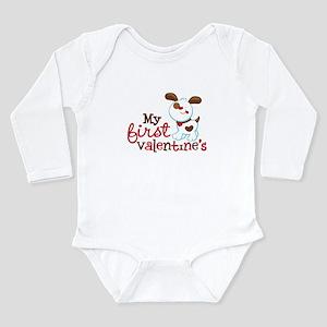 1st Valentines Day Puppy Long Sleeve Infant Bodysu