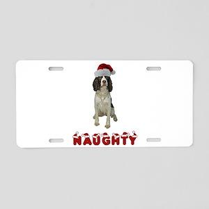 Naughty Springer Spaniel Aluminum License Plate