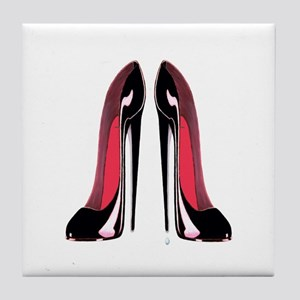 Pair Black Stiletto Shoes Tile Coaster