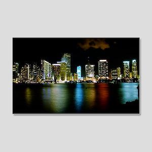 Miami Skyline at Night 22x14 Wall Peel