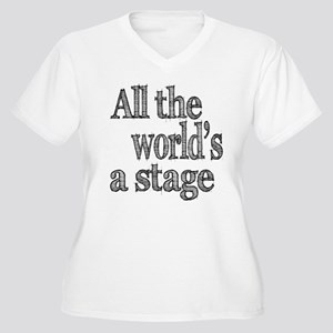 All the World's a Stage Women's Plus Size V-Neck T