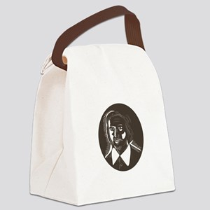 16th Century Poet Oval Woodcut Canvas Lunch Bag