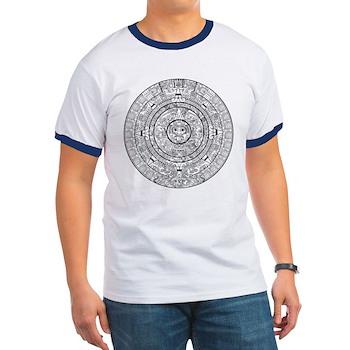 Aztec Sun Stone Calendar Ringer T