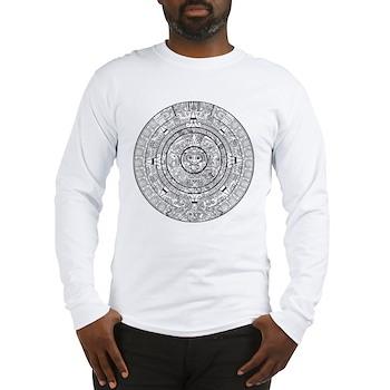 Aztec Sun Stone Calendar Long Sleeve T-Shirt