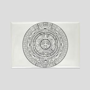 Aztec Sun Stone Calendar Rectangle Magnet