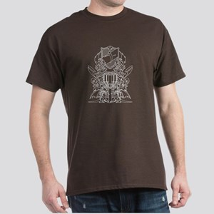 Black/White Disc Golf Coat of Arms Dark T-Shirt