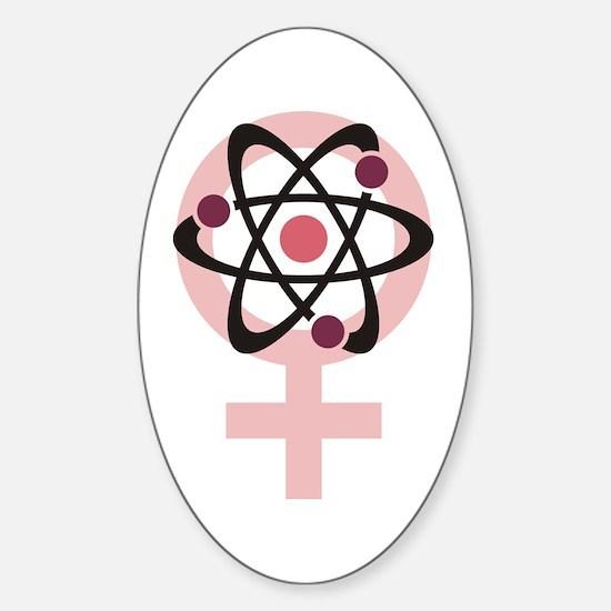 Female Scientist Sticker (Oval)