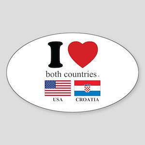 USA-CROATIA Sticker (Oval)