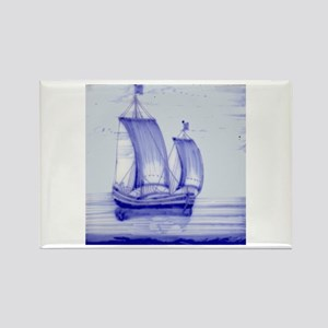 Blue Ship Tile: Rectangle Magnet