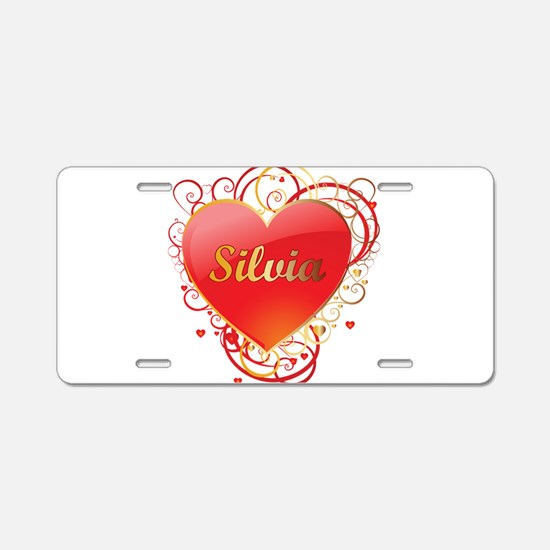 Silvia Valentines Aluminum License Plate