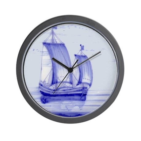 Blue Ship Tile: Wall Clock (design 2)