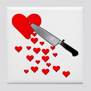 Lacerated Heart Anti-Valentines Day Tile Coaster