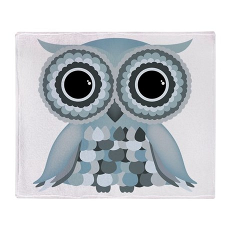 Little Blue Owl Throw Blanket