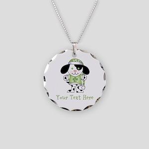 Personalized Irish Puppy Necklace Circle Charm