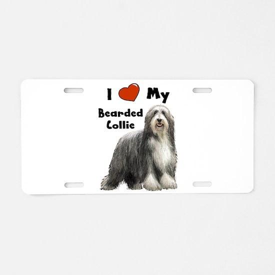I Love My Bearded Collie Aluminum License Plate