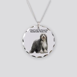 Bearded Collie Necklace Circle Charm