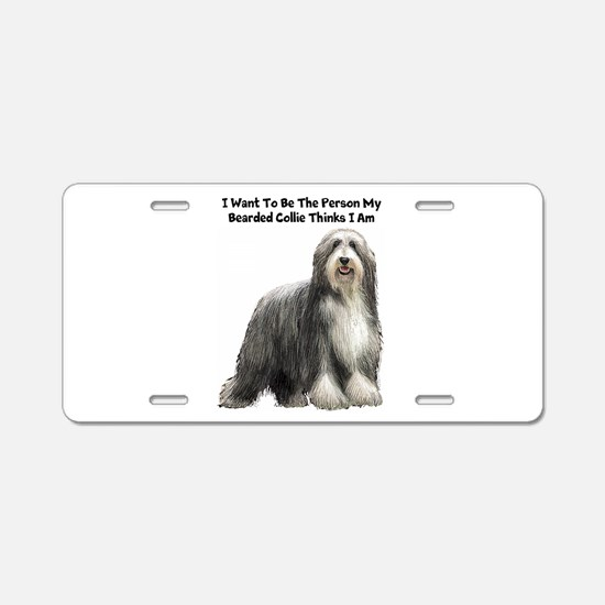 Bearded Collie Aluminum License Plate
