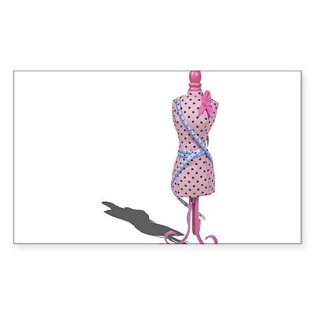 Dress Form Measuring Tape Sticker (Rectangle)