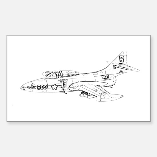 Grumman F9F Cougar Sticker (Rectangle)