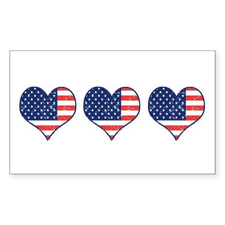 Little Patriotic Hearts Rectangle Sticker