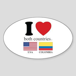 USA-COLOMBIA Sticker (Oval)