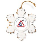 Warning - Kiters present Rustic Snowflake Ornament
