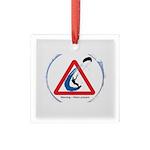 Warning - Kiters present Square Glass Ornament