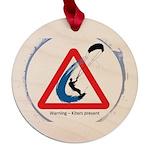 Warning - Kiters present Maple Round Ornament