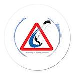 Warning - Kiters present Round Car Magnet