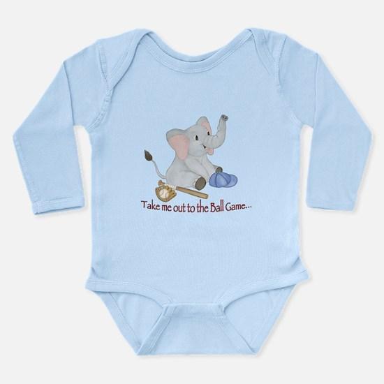 Baseball - Elephant Long Sleeve Infant Bodysuit