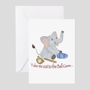 Baseball - Elephant Greeting Cards (Pk of 20)