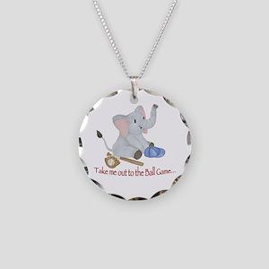 Baseball - Elephant Necklace Circle Charm