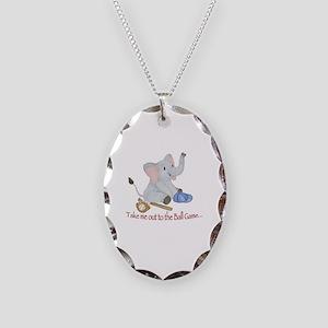 Baseball - Elephant Necklace Oval Charm