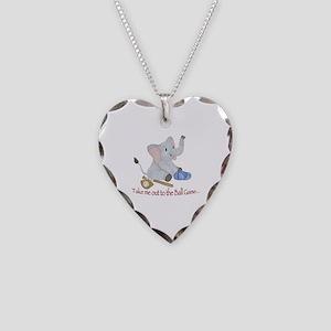 Baseball - Elephant Necklace Heart Charm