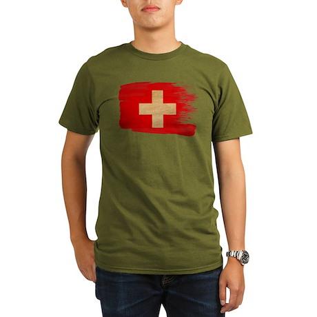 Switzerland Flag Organic Men's T-Shirt (dark)