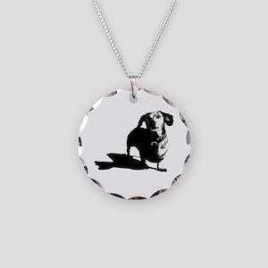 daschund sketch Necklace Circle Charm
