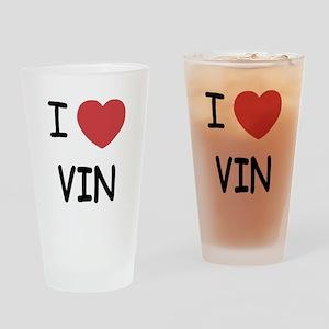 I heart vin Drinking Glass