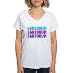 Rick Santorum Purple & Teal Women's V-Neck T-Shirt