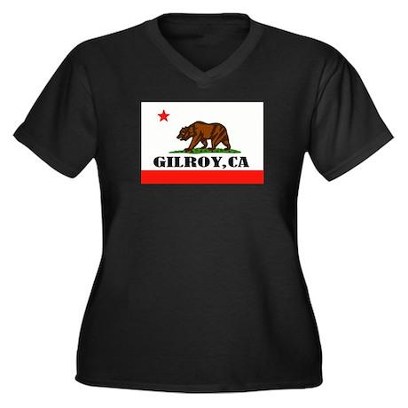 Gilroy,Ca -- T-Shirt Women's Plus Size V-Neck Dark