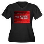 Build The Wall Women's Plus Size V-Neck Dark T-Shi
