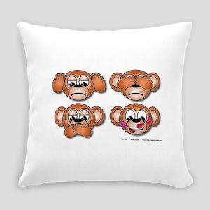 Four Monkeys Everyday Pillow