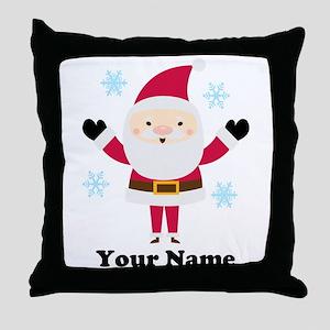 Personalized Santa Snowflake Throw Pillow
