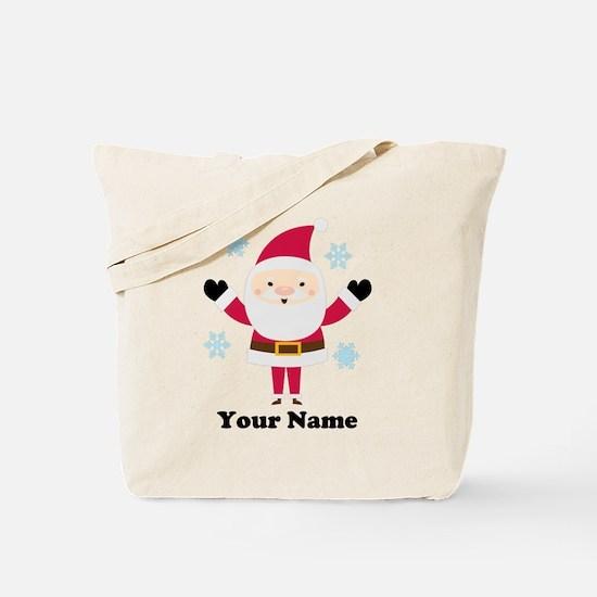 Personalized Santa Snowflake Tote Bag