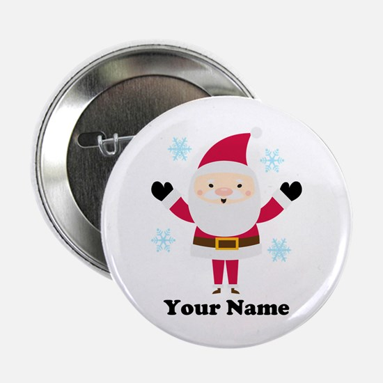 "Personalized Santa Snowflake 2.25"" Button"