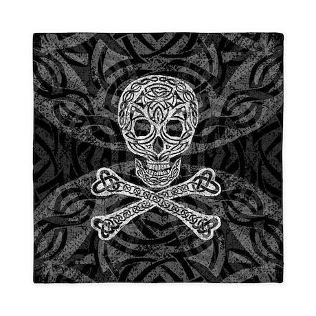 Celtic Skull And Crossbones Queen Duvet Cover By Artoffoxvox