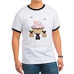 Pug Dog Cupcakes Ringer T