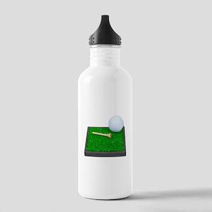 Golf Ball Tee Laying on Grass Stainless Water Bott