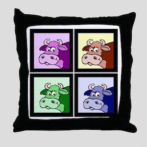 Pop Art Cows (head shot) Throw Pillow