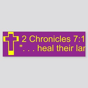 2 Chr 7:14 Gold/Purple Sticker (Bumper)