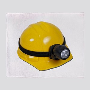 Hard Hat with Lamp Throw Blanket